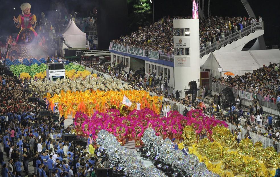 Desfile da Rosas de Ouro no Anhembi carnaval em São Paulo em 2020 — Foto: Daigo Oliva/G1