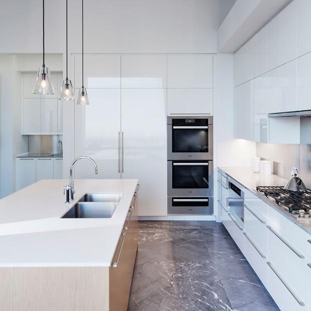 Cozinha de um apartamento na Park Avenue, 432, onde a cantora Jennifer Lopez comprou um apartamento com seu namorado (Foto: DBOX for CIM Group/Macklowe Properties / Reprodução)