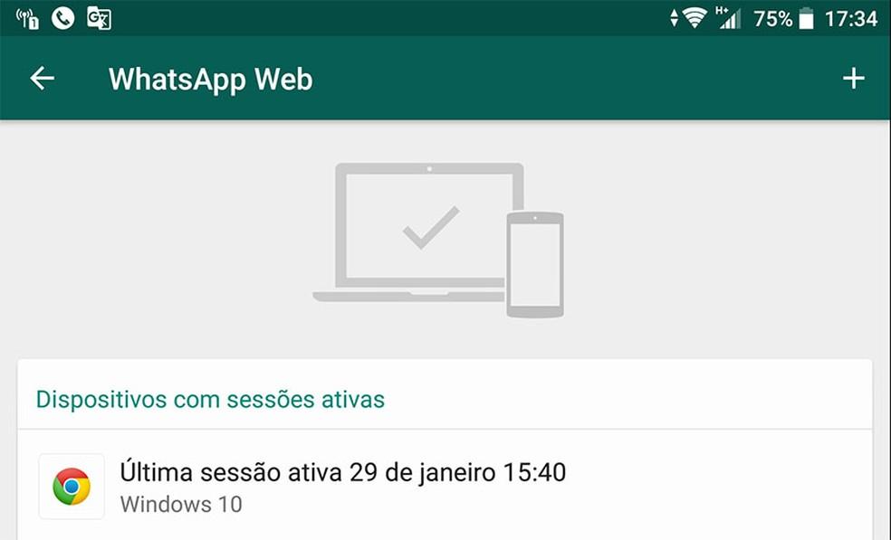 WhatsApp exibe apenas informações limitadas sobre as sessões ativas no WhatsApp Web, o que dificulta identificar a origem de conexões feitas sem autorização. — Foto: Reprodução