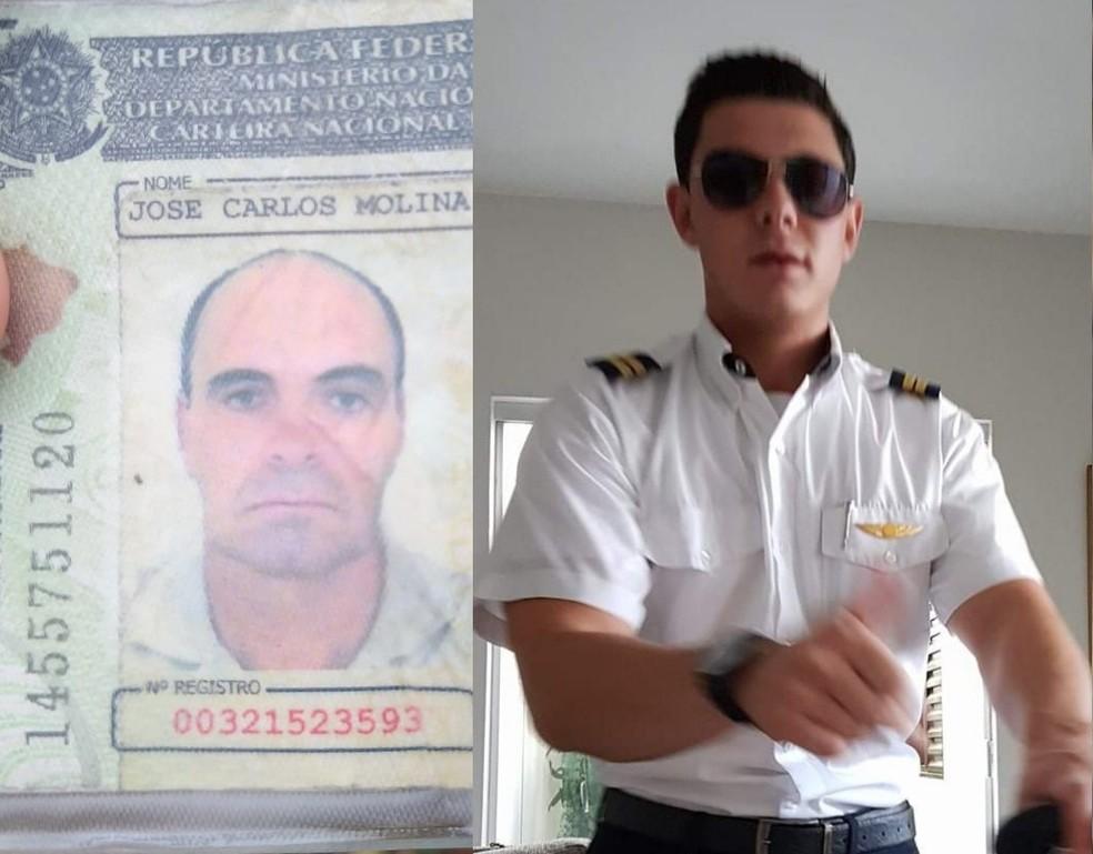 Pilotos foram identificados como José Carlos Molina, de 58 anos, e João Borin, de 25 anos — Foto: Divulgação