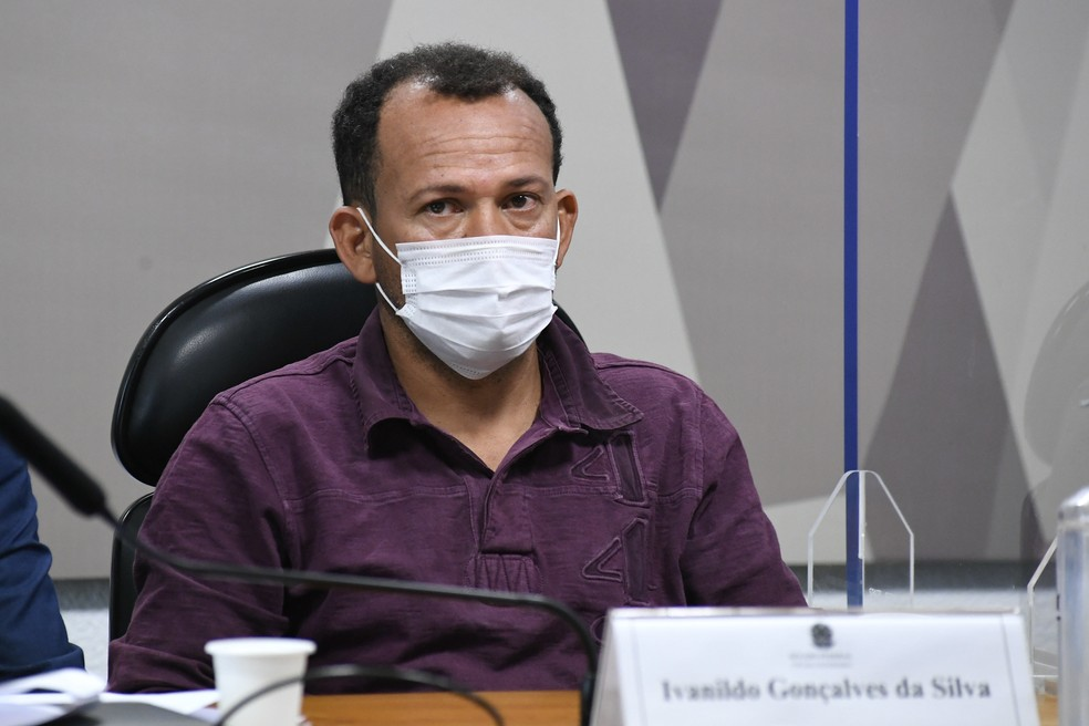 Ivanildo Gonçalves, motoboy da VTCLog, durante depoimento à CPI da Covid nesta quarta-feira (1º) — Foto: Agência Senado