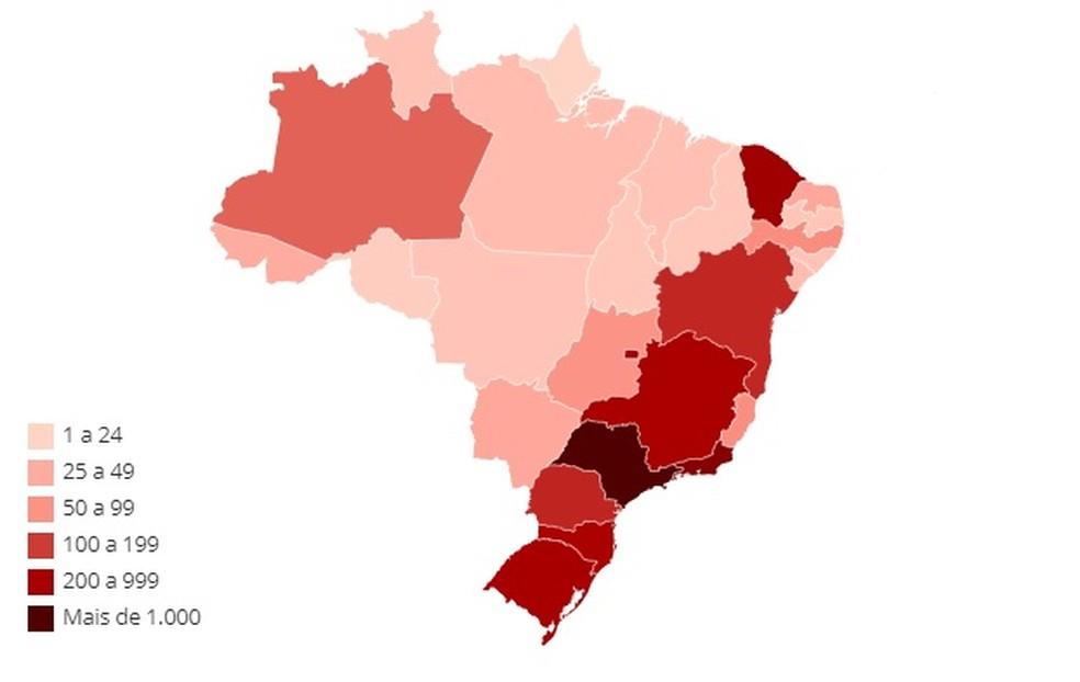 Mapa mostra os casos de coronavírus no país — Foto: Arte-G1