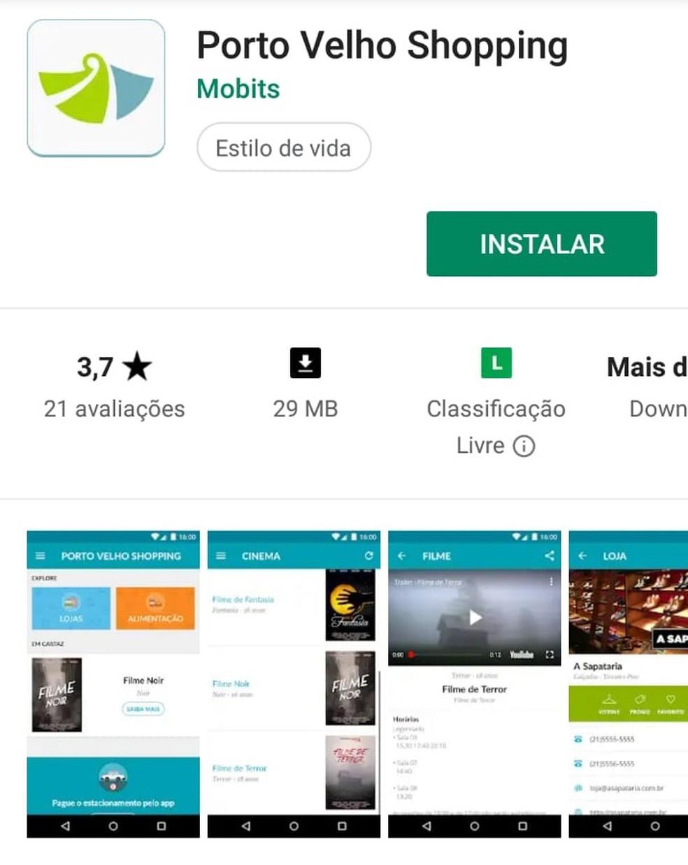 O Porto Velho Shopping fará as inscrições através do aplicativo — Foto: Reprodução/ Play Store