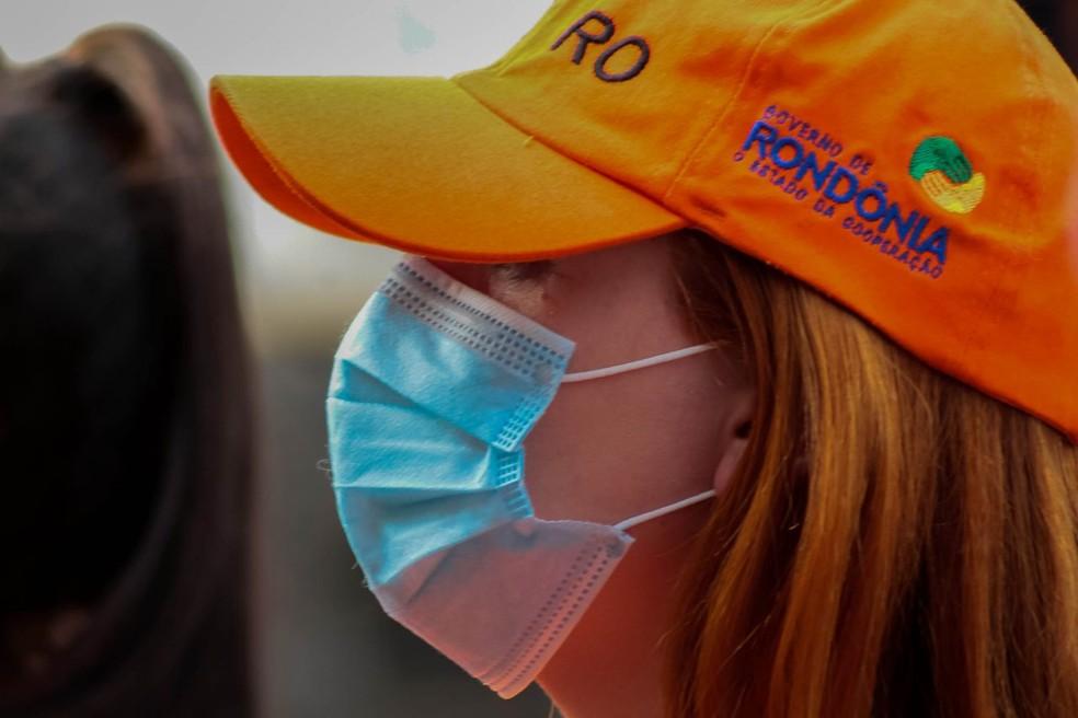 Mulher usando máscara durante pandemia da Covid-19 em Rondônia, em 2020 — Foto: Daiane Mendonça/Governo de Rondônia
