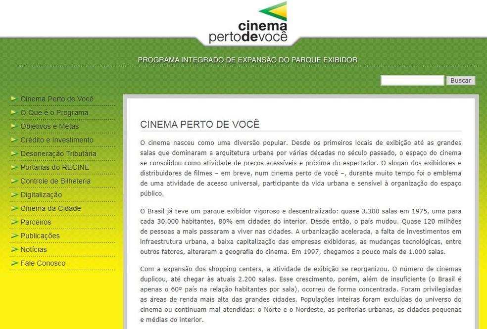 Trecho de texto retirado do site da Ancine que caiu na redação do Enem 2019 fala sobre a queda no número de salas de cinema no Brasil — Foto: Reprodução/Ancine