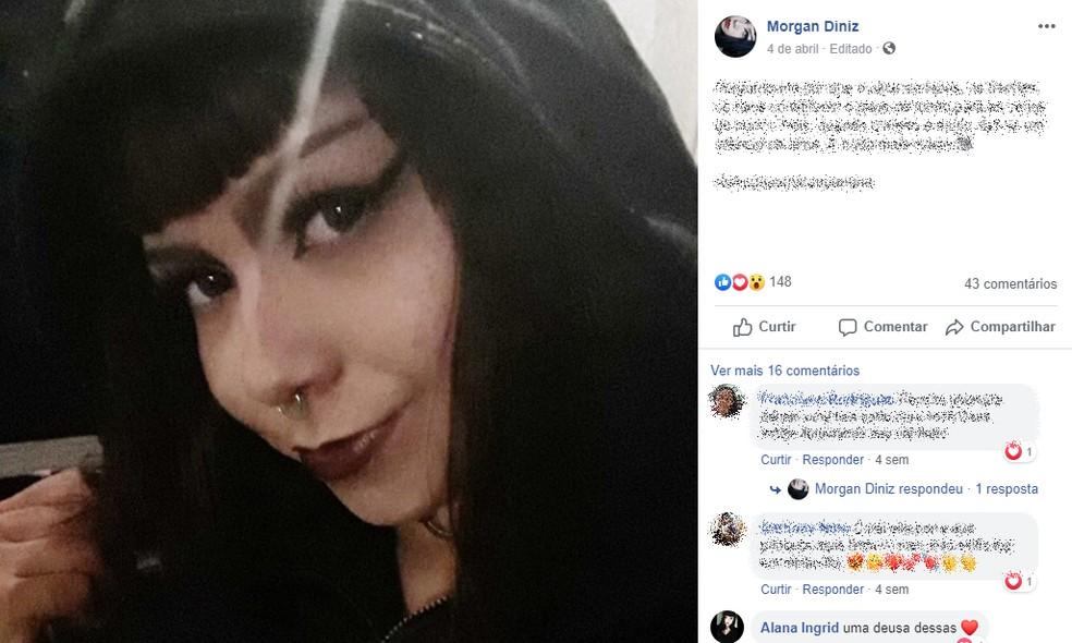 Segundo uma familiar, a adolescente assassinada em Guaraciaba do Norte, no Ceará, não gostava do próprio nome e, nas redes sociais, se apresentava como Morgan Diniz — Foto: Reprodução/Facebook