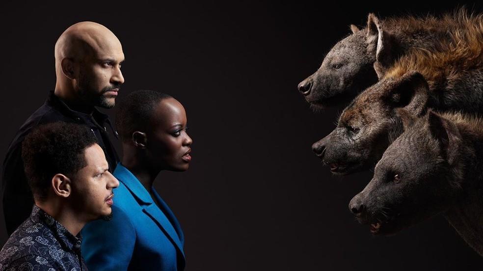 Keegan-Michael Key (Kamari), Florence Kasumba (Shenzi) e Eric André (Azizi) — Foto: Divulgação/Disney