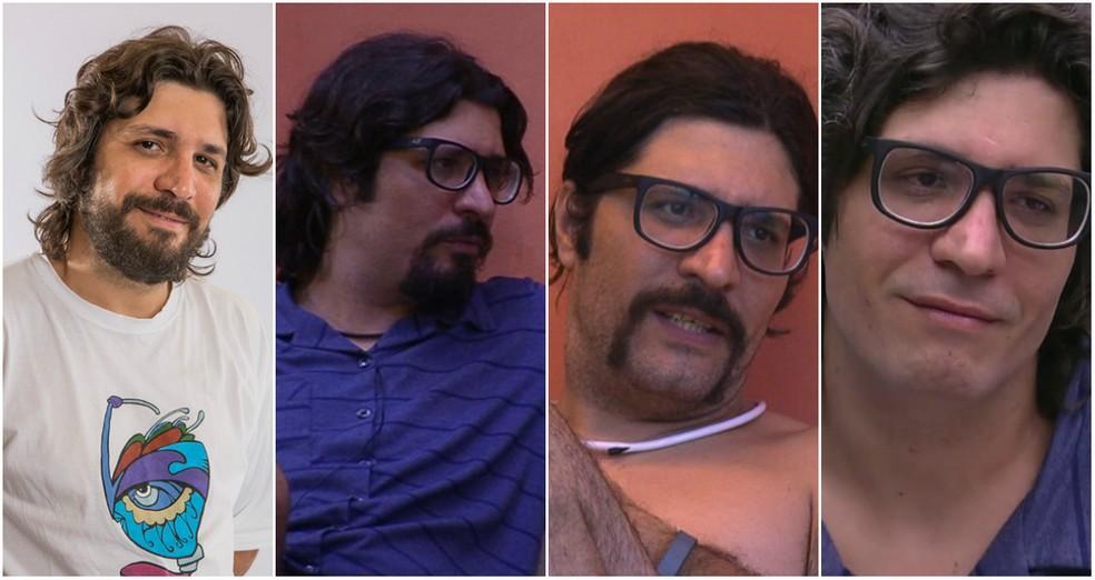 As mudanças de Ilmar: com barba, cavanhaque, bigode e com o rosto limpo (Foto: TV Globo)