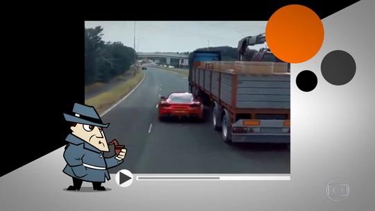 Detetive Virtual: vídeo de Ferrari entrando debaixo de carreta em alta velocidade