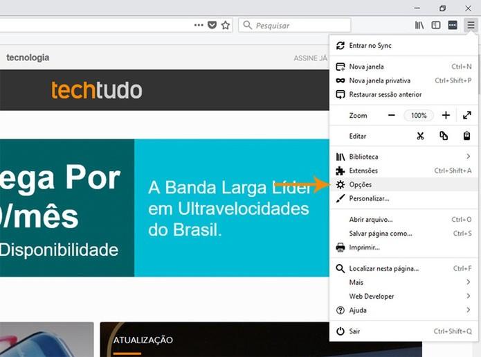 Acesse as opções de configuração do Firefox (Foto: Reprodução/Pedro Cardoso)