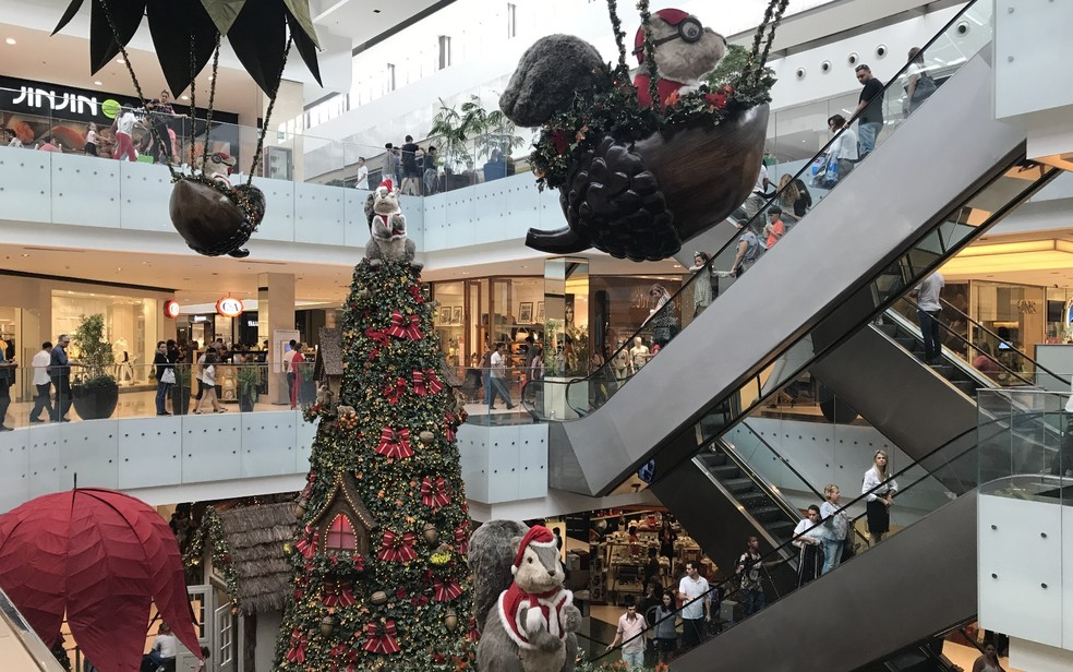 Decoração de Natal do Shopping Flamboyant, em Goiânia, Goiás — Foto: Vitor Santana/G1