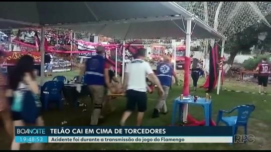 Dois torcedores ficam feridos em Foz do Iguaçu após queda de telão durante jogo do Flamengo