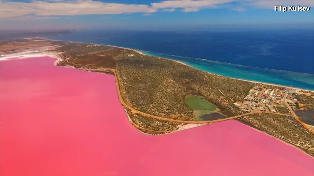 Lago Hutt, em Port Gregory, na Austrália — Foto: BBC