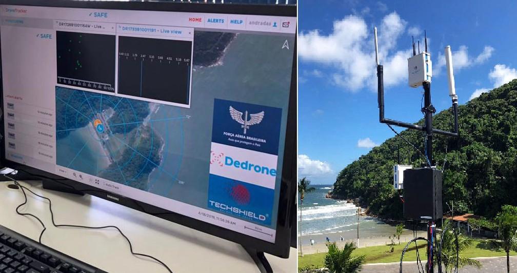 Equipamento foi instalado na estrutura do Forte dos Andradas, próximo à praia, em Guarujá, SP — Foto: G1 Santos