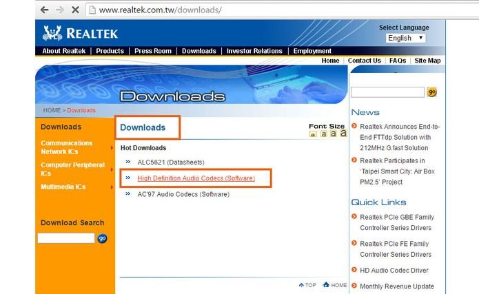 Acesse a página de downloads de drivers da Realtek (Foto: Reprodução/Barbara Mannara)