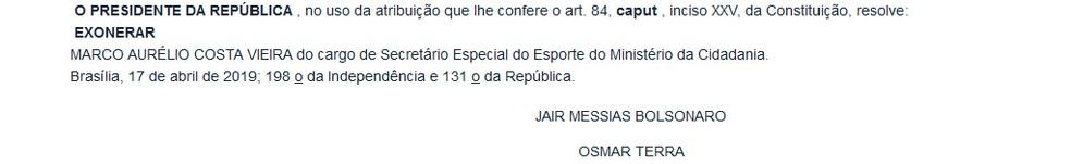 Publicação do Diário Oficial da União desta quinta-feira, 17 de abril — Foto: Reprodução DOU