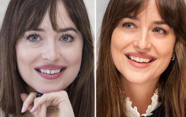 Dakota Johnson: antes e depois (Foto: Getty Images)