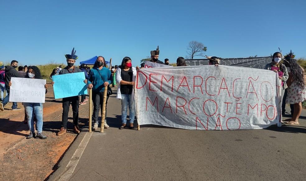 Indígenas de Avaí voltam a protestar contra projeto que dificulta demarcação de terras  — Foto: Creiles Marcolino da Silva Nunes/Arquivo pessoal