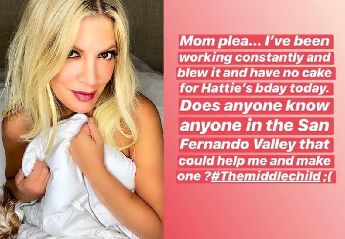 A atriz Tori Spelling e sua mensagem lamentando o esquecimento do bolo de aniversário da filha de 7 anos (Foto: Instagram)