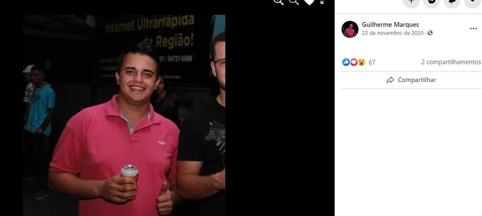 Guilherme tinha 20 anos e morreu no capotamento entre Borborema e Pongaí  — Foto: Facebook/ Reprodução