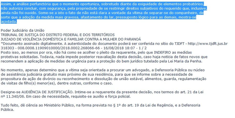 Trecho da decisão da juiza Eugenia Christina Bergamo Albernaz (Foto: TJDFT/Reprodução)