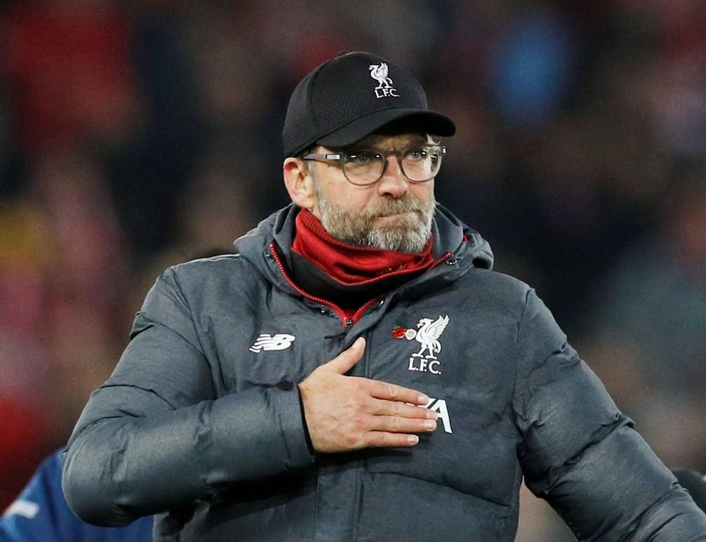 Jürgen Klopp, técnico do Liverpool — Foto: Phil Noble/Reuters
