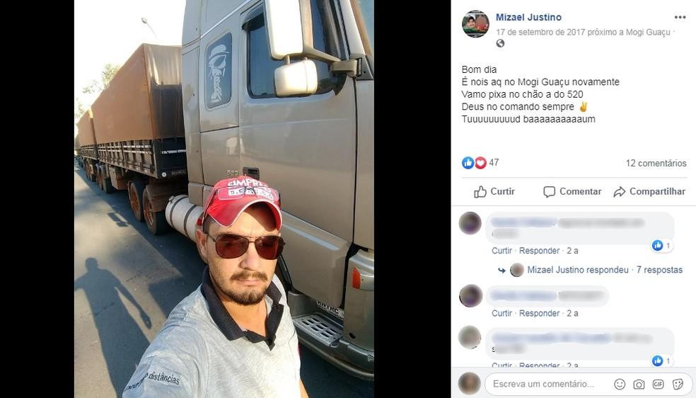 Motorista do caminhão tinha 30 anos — Foto: Facebook/ reprodução