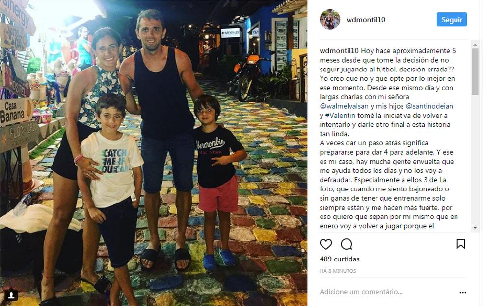 Após ser examinado na Argentina e ter certeza que está em boas condições, Montillo anunciou retorno ao futebol na semana passada (Foto: Reprodução)