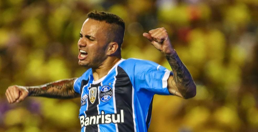 Luan fez dois gols para o Grêmio contra o Barcelona-EQU (Foto: Lucas Uebel/Grêmio/Divulgação)