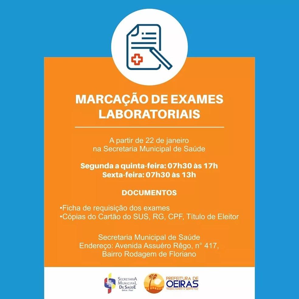 Publicação da Prefeitura de Oeiras exige título de eleitor para marcação de exames  — Foto: Divulgação