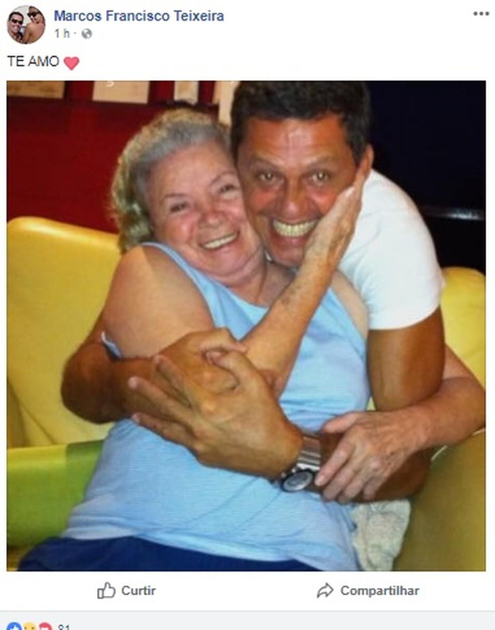 Marcos Francisco Teixeira, filho de Eloísa Mafalda, faz post em homenagem a mãe (Foto: Reprodução/Facebook)