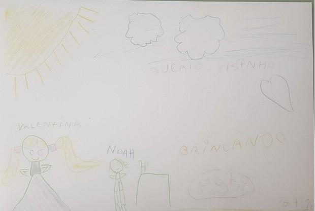Desenho entregue por Valentina aos vizinhos, no qual ela e o irmão brincam no quintal (Foto: Arquivo Pessoal)