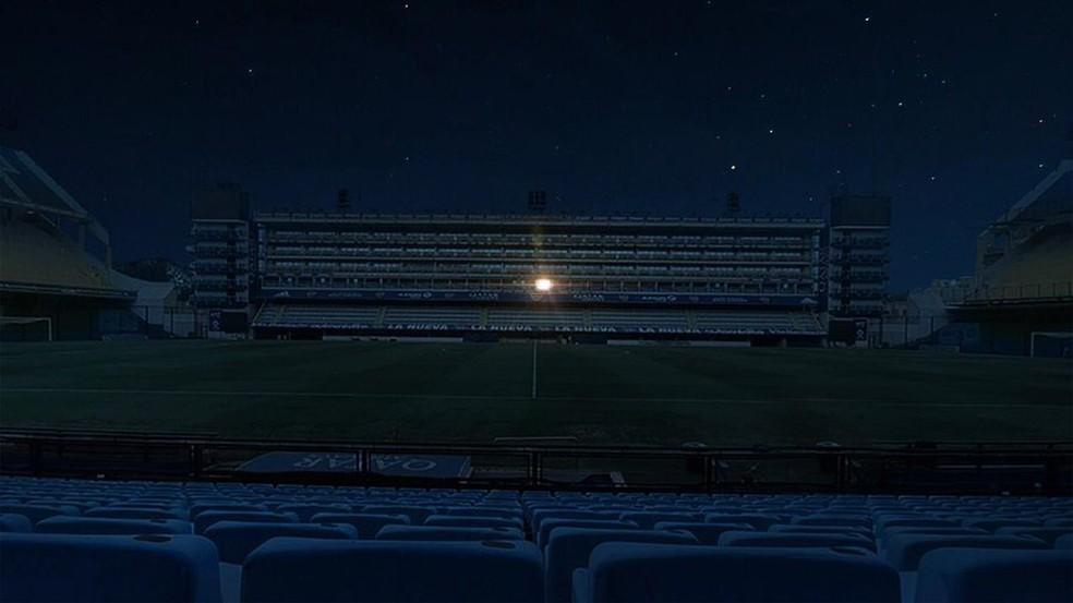 Luz do camarote de Diego Maradona é acesa na Bombonera em homenagem  — Foto: Boca Juniors / bocajuniors.com.ar