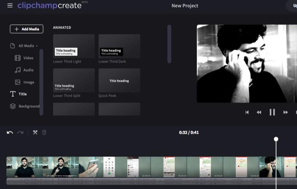 Tela para adicionar legendas animadas em um vídeo com o serviço Climpchamp — Foto: Reprodução/Marvin Costa