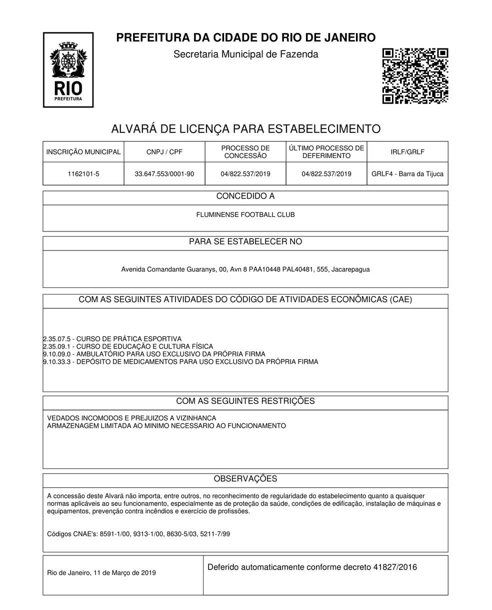 Alvará do CT do Fluminense — Foto: Reprodução