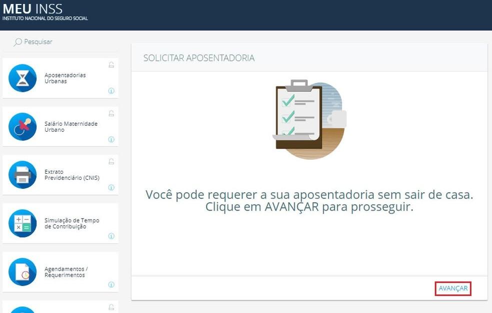 """Confirme em """"avançar"""" para solicitar aposentadoria pelo Meu INSS (Foto: Reprodução/Meu INSS)"""