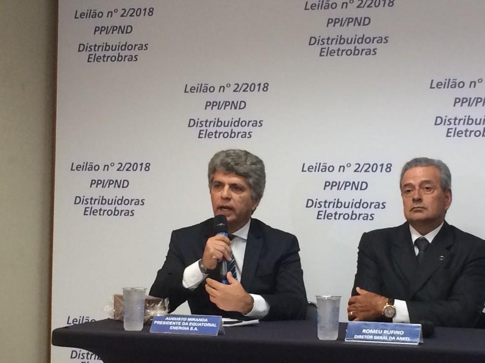 Presidente da Equatorial Energia, Augusto Miranda, e diretor-geral da Aneel, Romeu Rufino (Foto: Luísa Melo/G1)