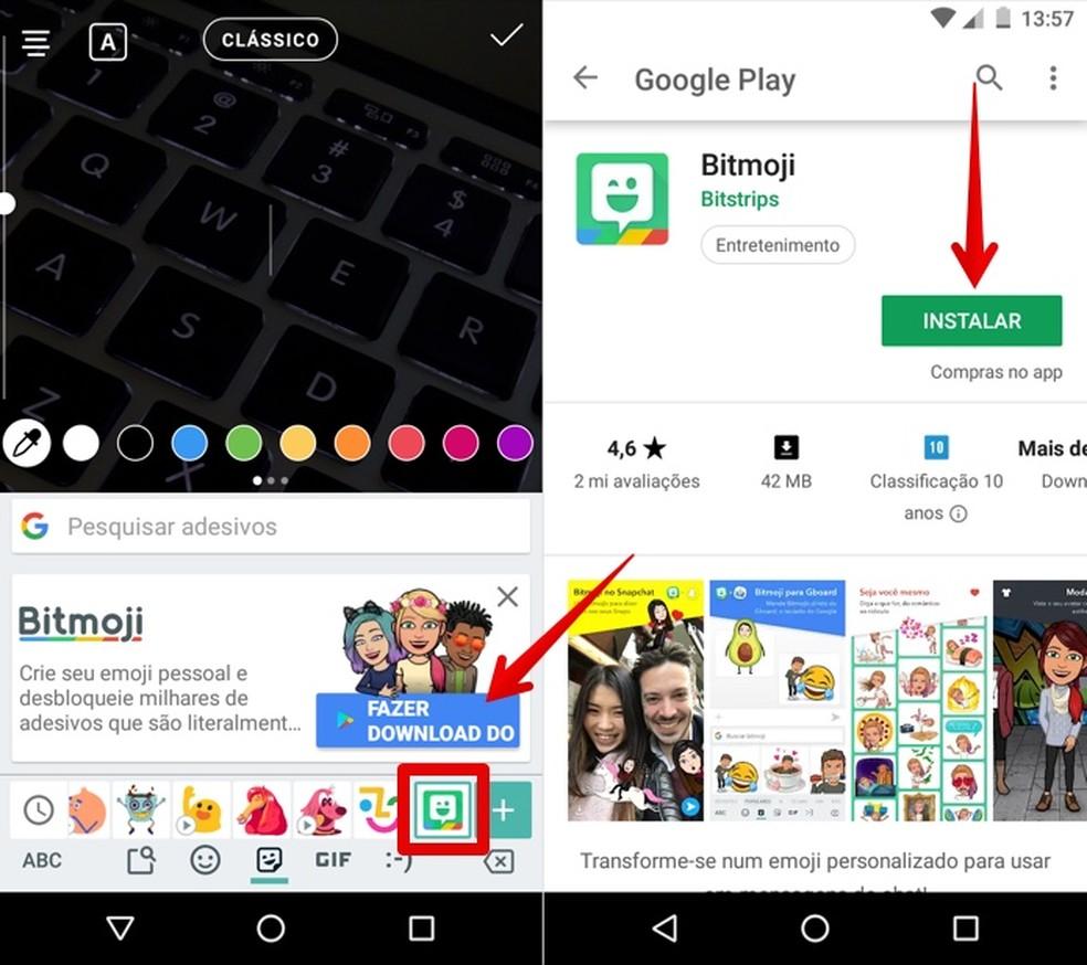 Instale o app do Bitmoji no seu celular — Foto: Reprodução/Helito Beggiora