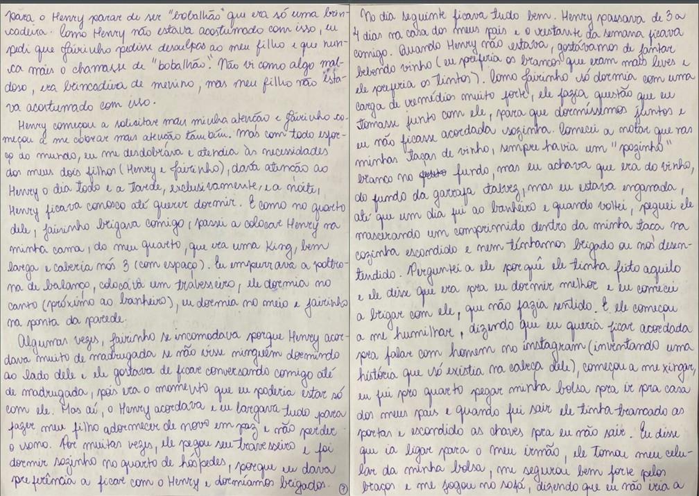 Caso Henry Borel: carta de Monique Medeiros (parte 7) — Foto: Reprodução