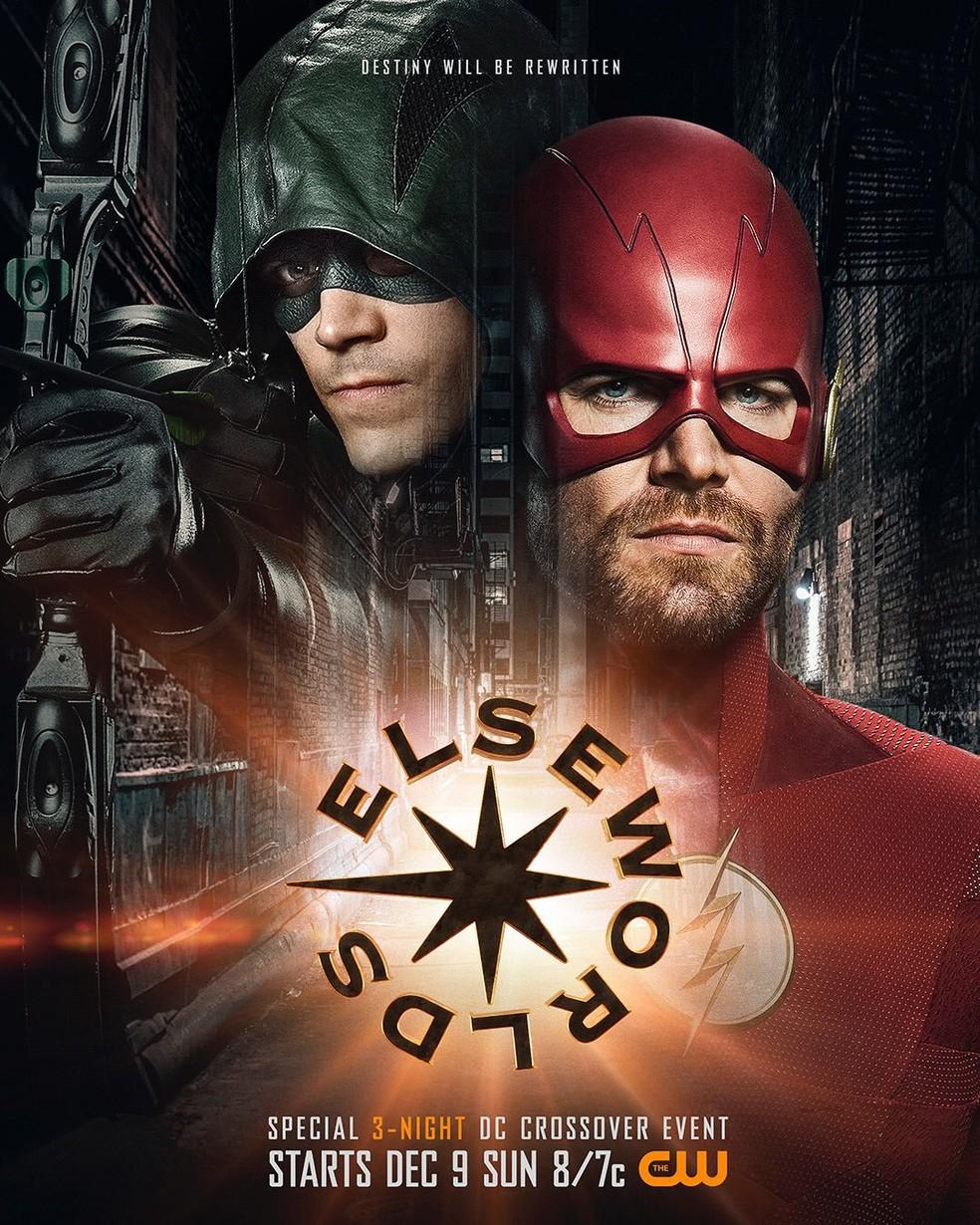 Grant Gustin e Stephen Amell aparecem com uniformes trocados em pôster do crossover 'Elseworlds' — Foto: Divulgação/CW
