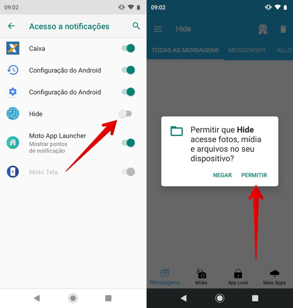 Forneça as permissões necessárias ao app Hide — Foto: Reprodução/Helito Beggiora