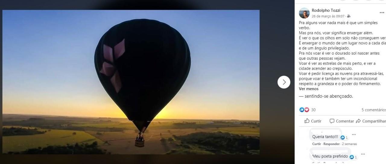 Piloto que morreu em queda de balão declarou paixão por voar em postagem: 'Enxergar além'
