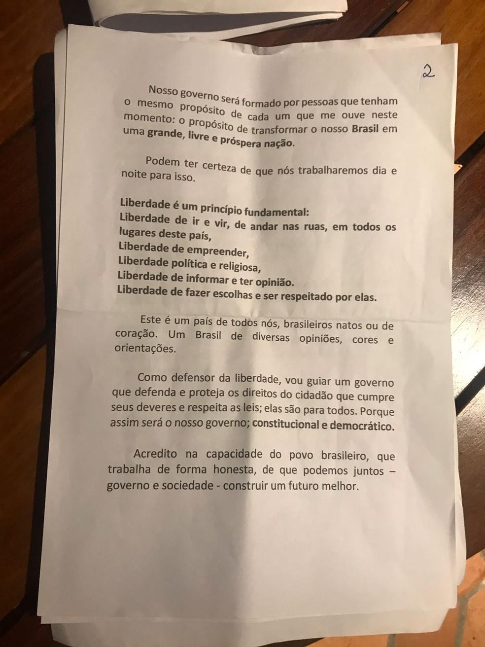 Discurso de Bolsonaro  - página 2 — Foto: Reprodução