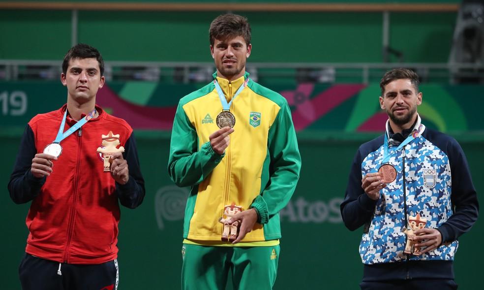 João Menezes tênis ouro Pan de Lima — Foto: REUTERS/Ivan Alvarado