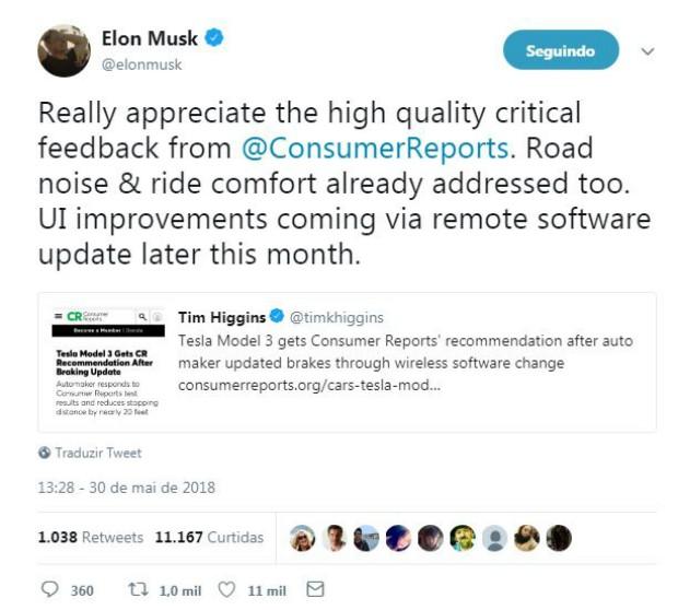 Elon Musk afirma, através do Twitter, que a Tesla está trabalhando em outros pontos mal avaliados do Model 3 (Foto: Reprodução/Twitter)