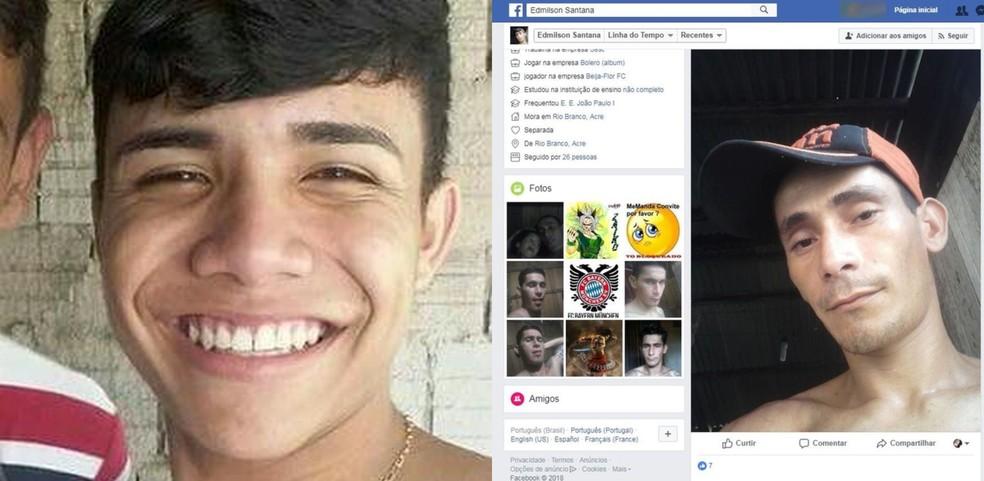 Lucas de Oliveira (esq.) morreu no Hospital do Juruá após ser baleado em bairro de Cruzeiro do Sul; Edmilson Santana foi morto depois que tentou matar a ex-mulher em Rio Branco (Foto: Arquivos pessoais)
