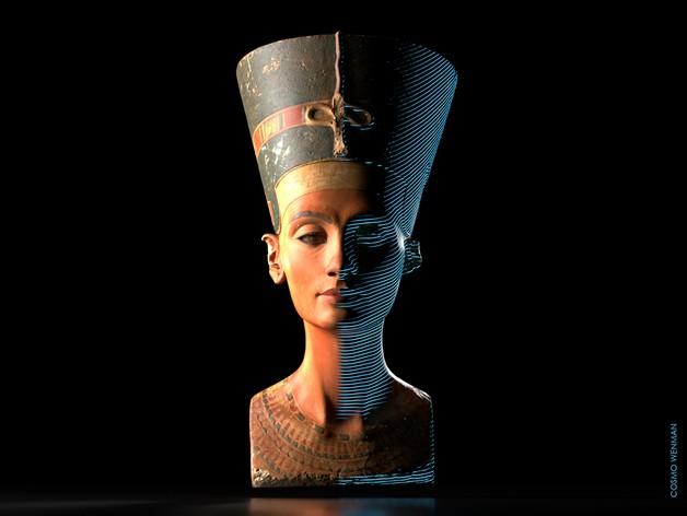 Reconstituição em 3D do busto de Nefertiti (Foto: Cosmo Wenman/ Creative Commons )