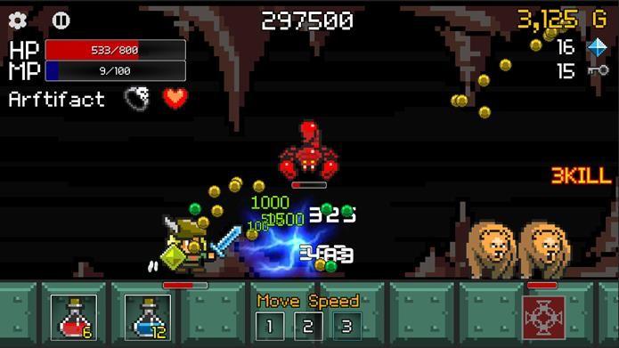 Buff Knight parece um jogo de corrida infinita, mas possui tesouros e artefatos para encontrar (Foto: Divulgação)