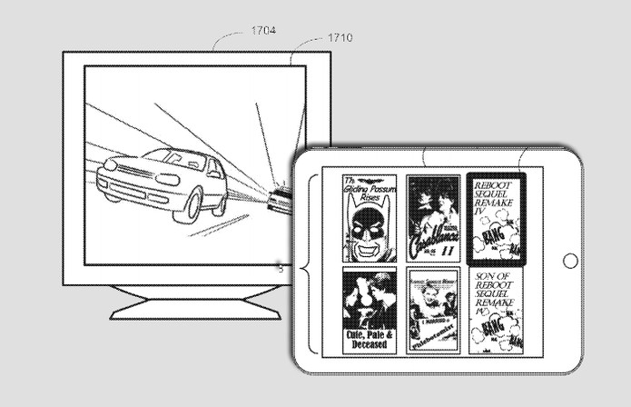 Outro exemplo da patente é usar o iPad para controlar catálogo de filmes exibidos na TV (Foto: Arte / TechTudo / USPTO)