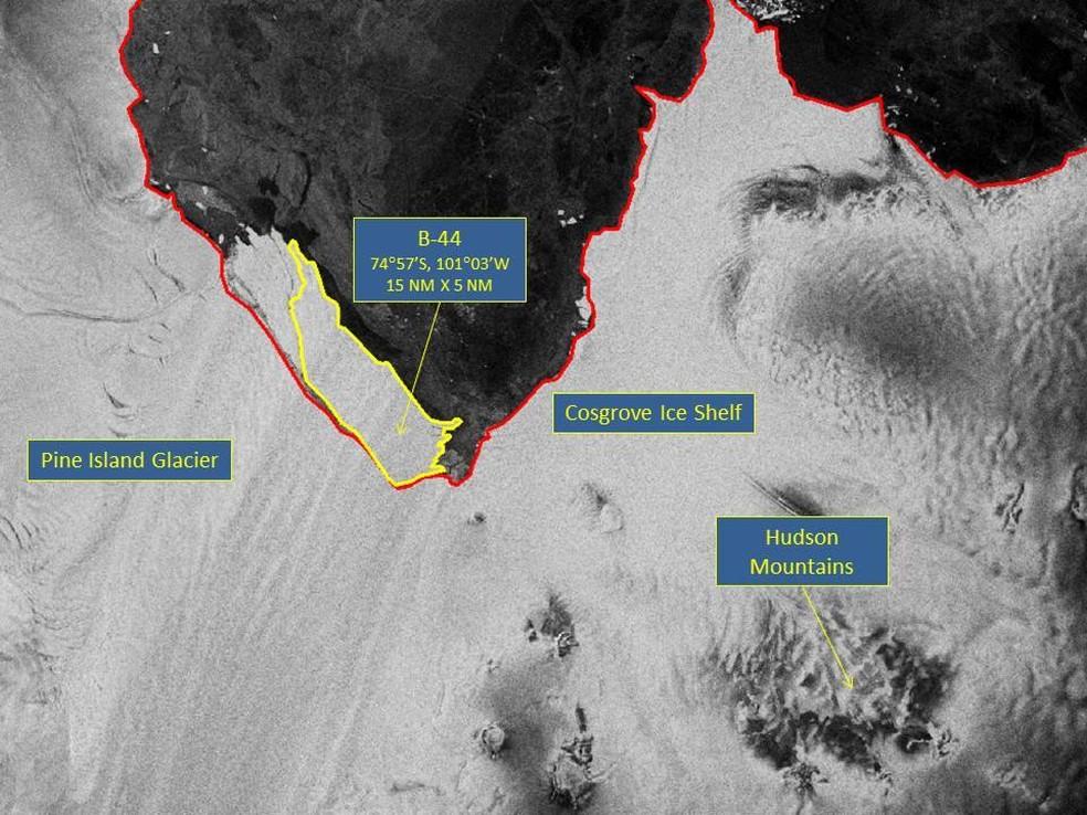 Imagem capturada pela ESA e divulgada pelo Centro Nacional do Gelo nos Estados Unidos (USNIC) (Foto: Sentinel -1/ESA)
